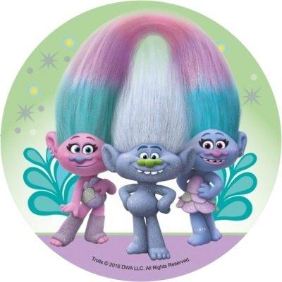 Opłatek waflowy okrągły na tort Trolle Trolls A