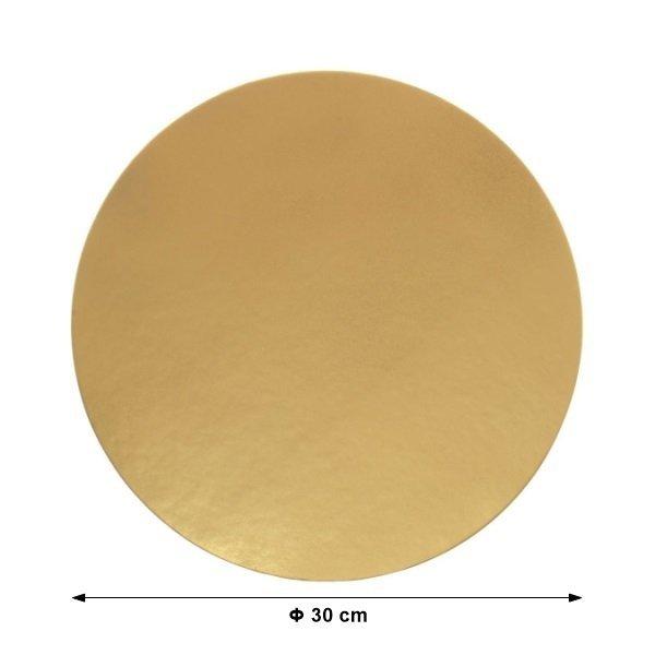 Podkład pod tort ZŁOTY gładki 30cm - 10 szt