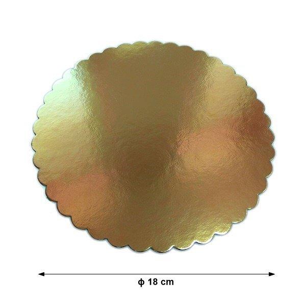 Podkład pod tort gruby złoty karbowany śr. 18cm