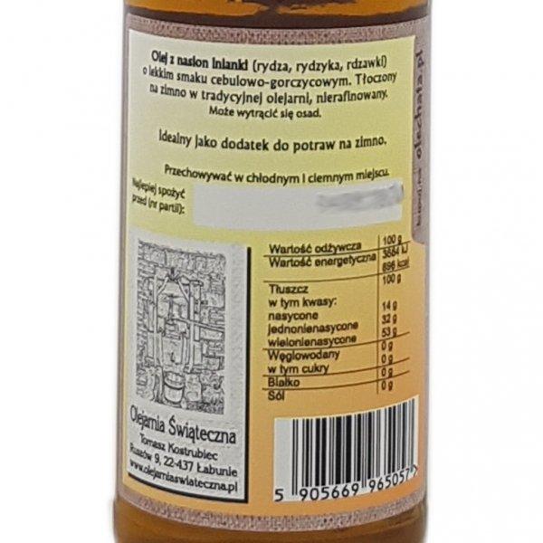 Olej z rydzyka 200 ml bity tradycyjnie - tył etykieta.