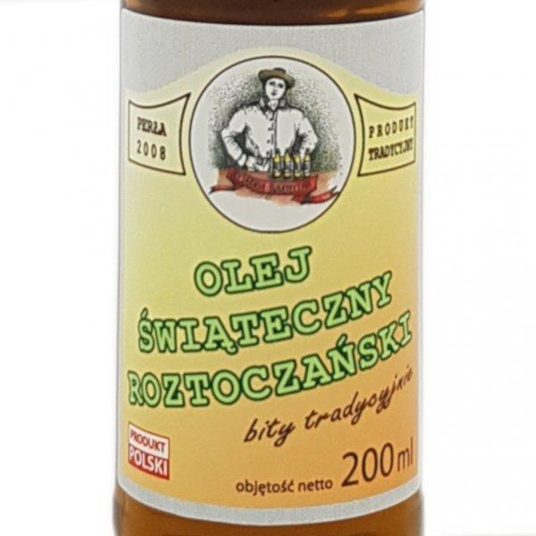 Olej świąteczny roztoczański 200 ml  bity tradycyjnie - przód etykieta.