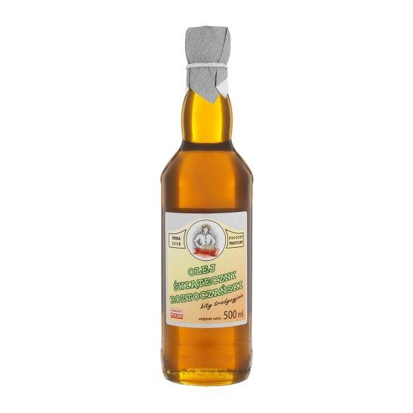 Olej świąteczny roztoczański 500 ml  bity tradycyjnie - przód.