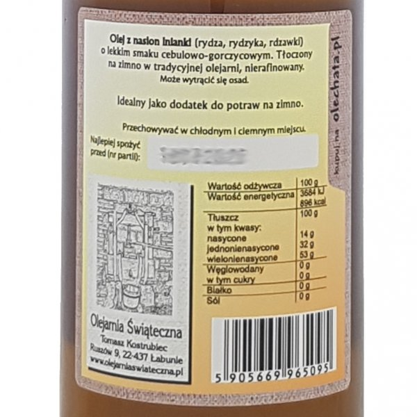 Olej z rydzyka 500 ml bity tradycyjnie -tył etykieta.