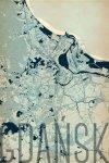 Plakat ścienny - Gdańsk - Artystyczna mapa - 61x91,5 cm