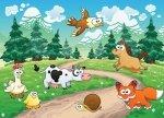 Fototapeta dla dzieci - Lisek, konik i inne zwierzaki - 254x183 cm