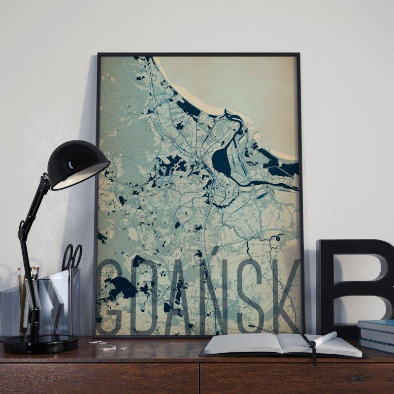 Plakat Do Salonu Gdańsk Artystyczna Mapa 50x70 Cm