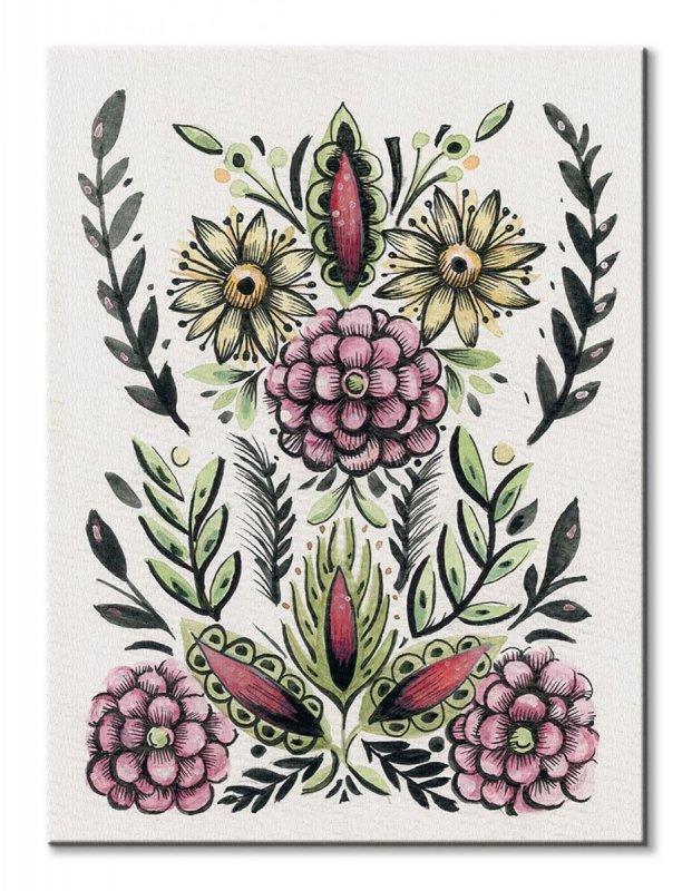 a06913e7 Folk Floral II - obraz na płótnie - Kwiaty i Rośliny - Natura ...