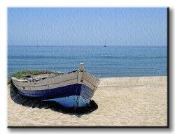 Obraz do salonu - Stara łódź - 120x90 cm