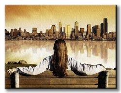 Obraz do salonu - Miasto, wschód słońca - 120x90 cm