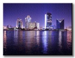 Obraz do salonu - Dubai nocą - 120x90 cm