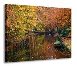 Obraz na ścianę - Jezioro w lesie, jesień - 120x90 cm
