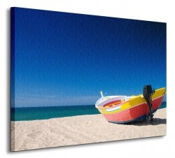 Kolorowa rybacka łódź - Obraz na płótnie