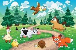 Fototapeta dla dzieci - Lisek, konik i inne zwierzaki - 175x115 cm