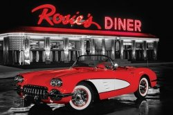 Rosie's Diner - Red Car - plakat