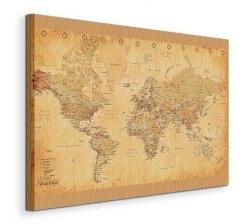 Obraz na płótnie - Mapa Świata - World Map - (Vintage Style) - 90x120 cm