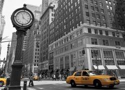 Zegar na Avenue, New York BW - fototapeta 254x183 cm