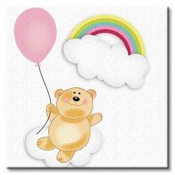 Obraz dla dzieci - Miś z balonikiem - 40x40 cm