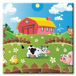 Obraz dla dzieci - Farma i zwierzaki - 40x40 cm