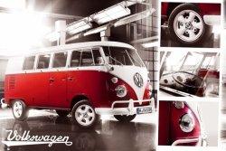 VW Volkswagen Camper Czerwony - plakat