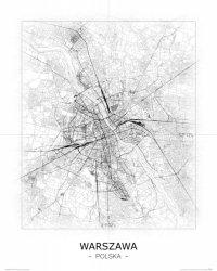 Warszawa - Czarno-biała mapa