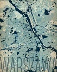 Plakat na ścianę - Warszawa - Artystyczna mapa - 40x50 cm