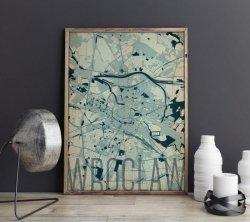 Plakat do salonu - Wrocław - Artystyczna mapa - 50x70 cm
