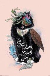 Czarny Kot ze skrzydłami - plakat