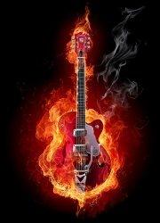 Fototapeta na ścianę - Ognista gitara - 183x254 cm