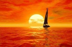 Fototapeta - Jacht, zachód słońca - 175x115 cm