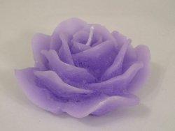 Świeca ozdobna - Róża - Niebieski - 15x7cm