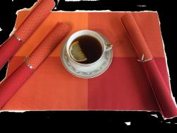 Podkładki na stół - Pomarańczowo - Czerwone  - Komplet 4szt