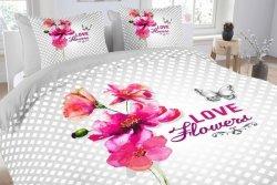 Pościel bawełniana -  Essara Soft Flower - 200x220 cm