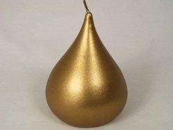 Świeca ozdobna - Złota gruszka - Velvet - 10x14cm