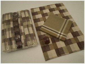 Podkładki na stół + Serwetki + Obrączki na serwetki x 6-szt - Kratka Brąz