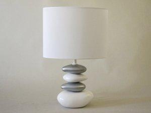 Lampka nocna - Srebrno Biała - 30x47cm