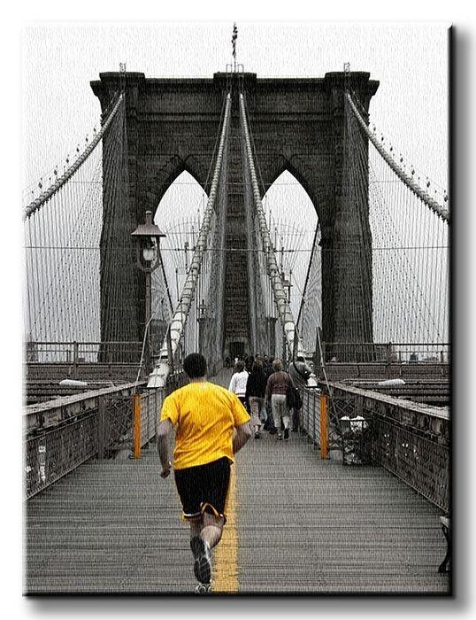 Yellow on Brooklyn Bridge - Obraz na płótnie