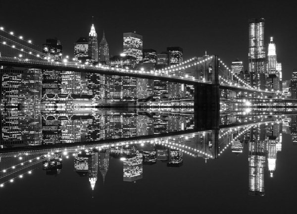 Fototapeta na ścianę - New York (Brooklyn Bridge night BW) - 254x183 cm