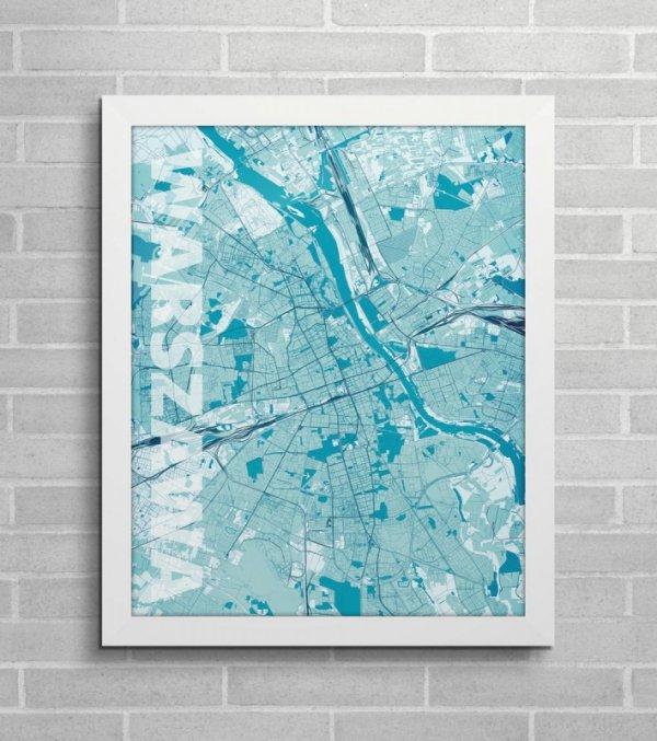 Plakat ścienny - Warszawa - Błękitna mapa - 40x50 cm