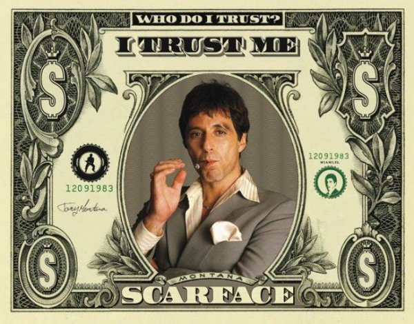 Człowiek z blizną (Dollar Bill) - plakat