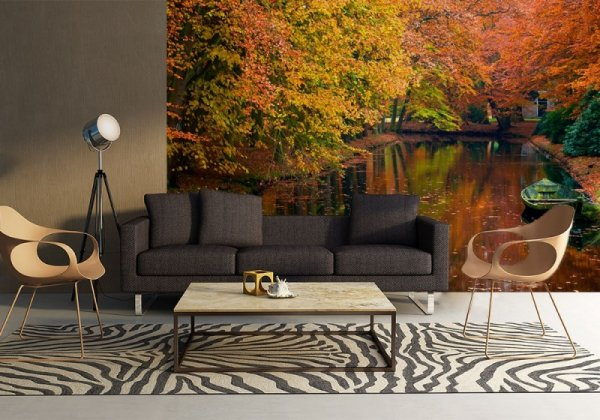 Fototapeta na ścianę - Jezioro w lesie jesienią - 254x183 cm