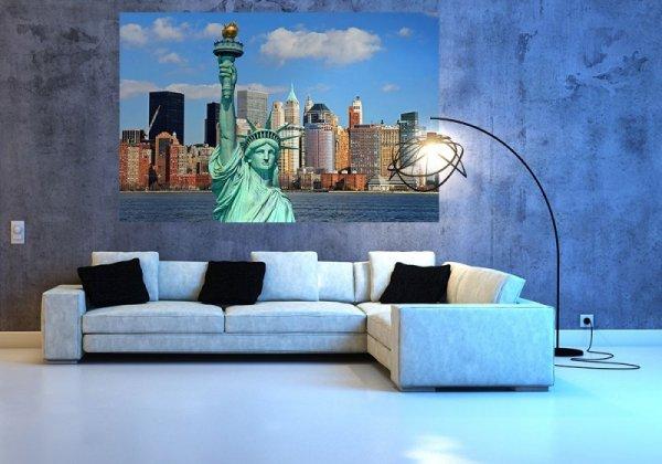 Fototapeta na ścianę - Statua wolności, Manhattan Skyline - 175x115 cm