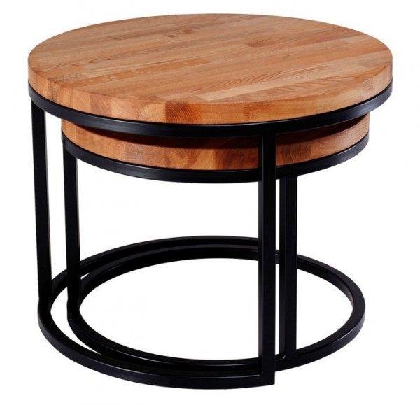 Stolik Loft z drewnianym blatem - 70cm
