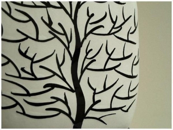 Wazon ceramiczny - Czarne Drzewko - 23x8x30cm