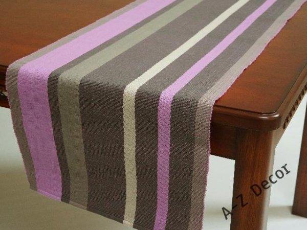 Bieżnik na stół - Fiolet prążkowany - 45x140cm