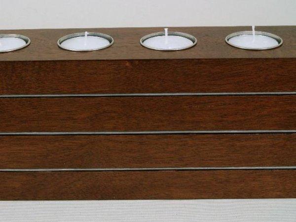 Świecznik - Drewniany - 40x7x11cm - English brown