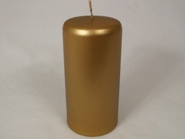 Świeca ozdobna - Złoto walec - 7x15cm