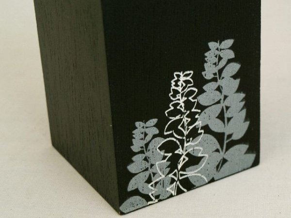 Świecznik - Kwiatki - Drewniany - 8x8x10cm