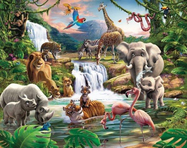 Fototapeta dla dzieci - Jungle Adventure - 3D - Walltastic - 243,8x304,8