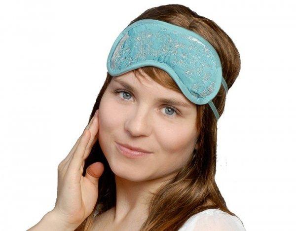 Opaska na Oczy - Wzór SkinCare Flower Blue