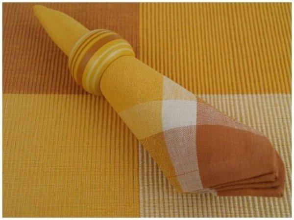 Podkładki na stół + Serwetki + Obrączki na serwetki x 6-szt - Pomarańcz